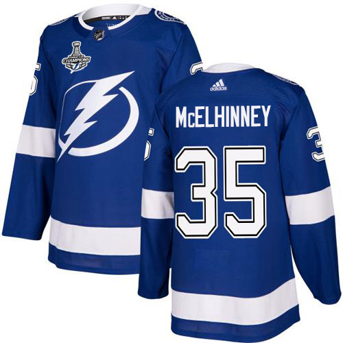 Cheap Adidas Tampa Bay Lightning 35 Curtis McElhinney Blue Home Authentic Youth 2020 Stanley Cup Champions Stitched NHL Jersey