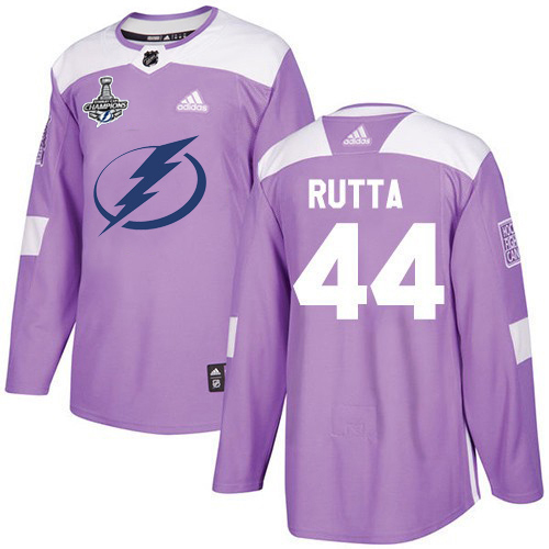 Cheap Adidas Tampa Bay Lightning 44 Jan Rutta Purple Authentic Fights Cancer Youth 2020 Stanley Cup Champions Stitched NHL Jersey
