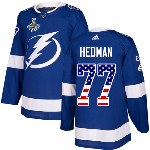 Wholesale Adidas Tampa Bay Lightning 77 Victor Hedman Blue Home Authentic USA Flag Youth 2020 Stanley Cup Champions Stitched NHL Jersey