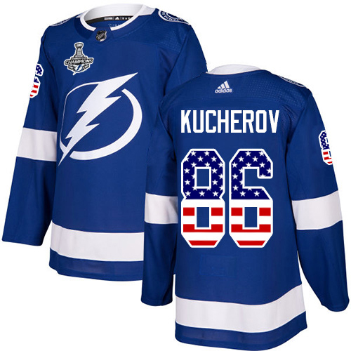 Wholesale Adidas Tampa Bay Lightning 86 Nikita Kucherov Blue Home Authentic USA Flag Youth 2020 Stanley Cup Champions Stitched NHL Jersey