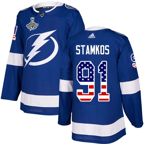 Wholesale Adidas Tampa Bay Lightning 91 Steven Stamkos Blue Home Authentic USA Flag Youth 2020 Stanley Cup Champions Stitched NHL Jersey