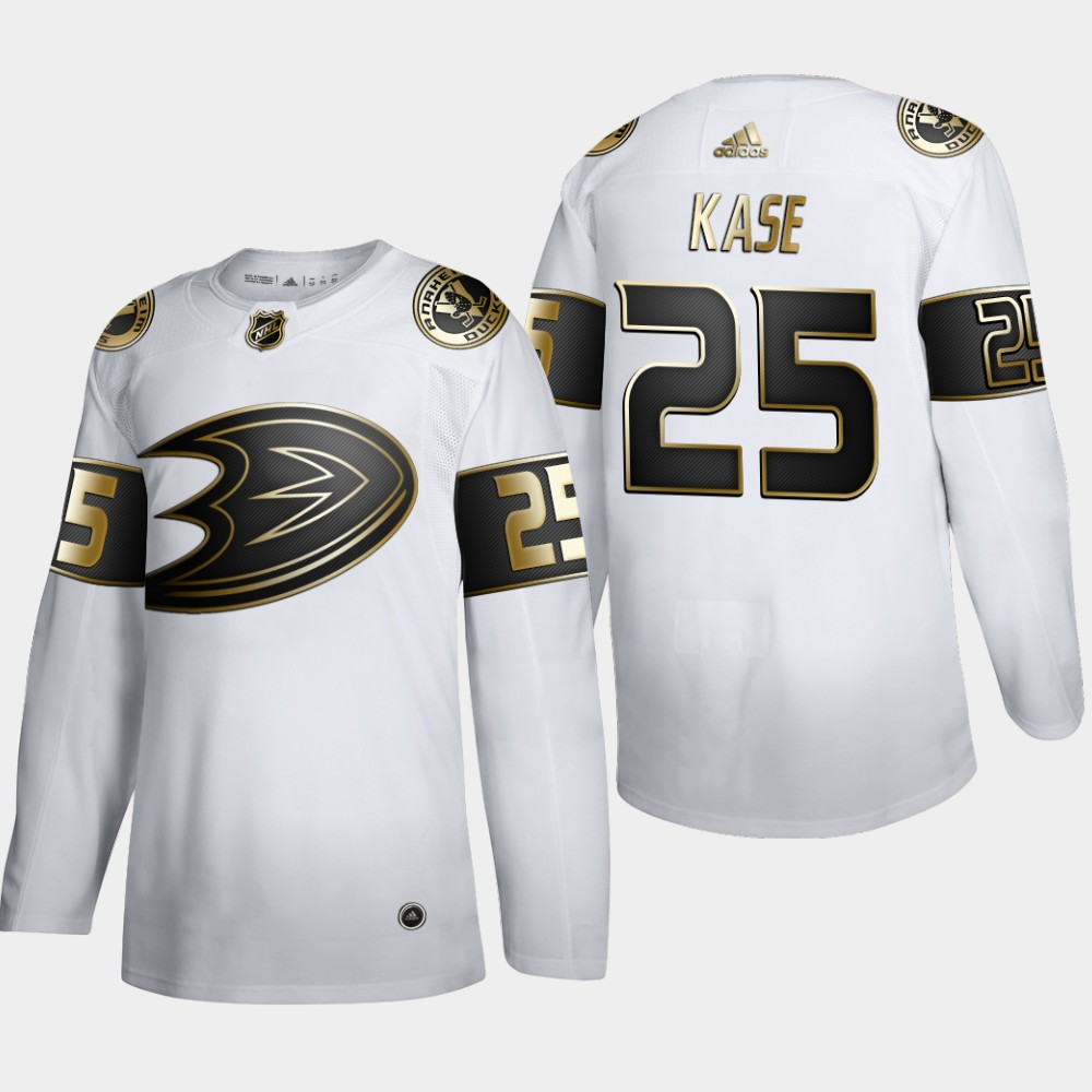 Cheap Anaheim Ducks 25 Ondrej Kase Men Adidas White Golden Edition Limited Stitched NHL Jersey