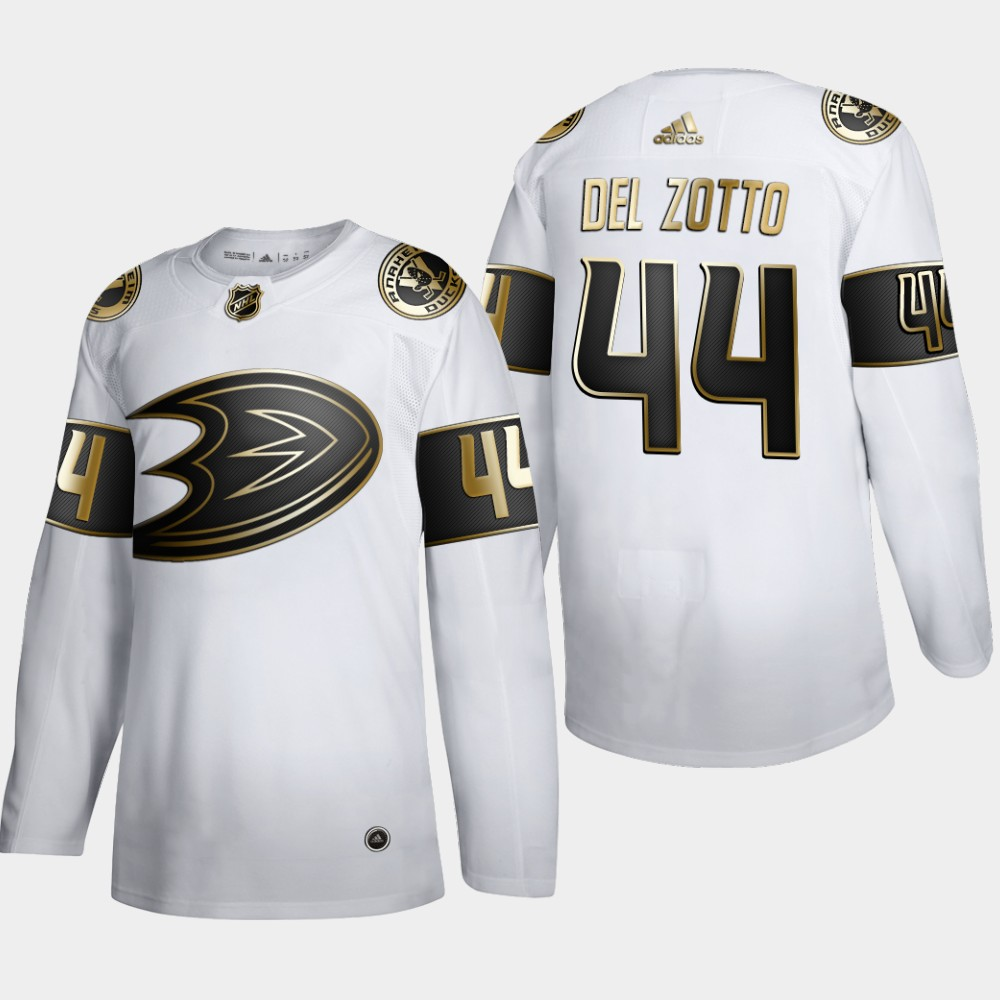 Wholesale Anaheim Ducks 44 Michael Del Zotto Men Adidas White Golden Edition Limited Stitched NHL Jersey