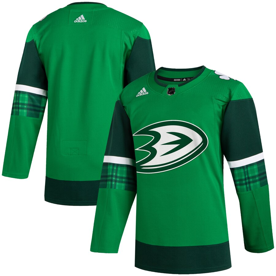 Wholesale Anaheim Ducks Blank Men Adidas 2020 St. Patrick Day Stitched NHL Jersey Green