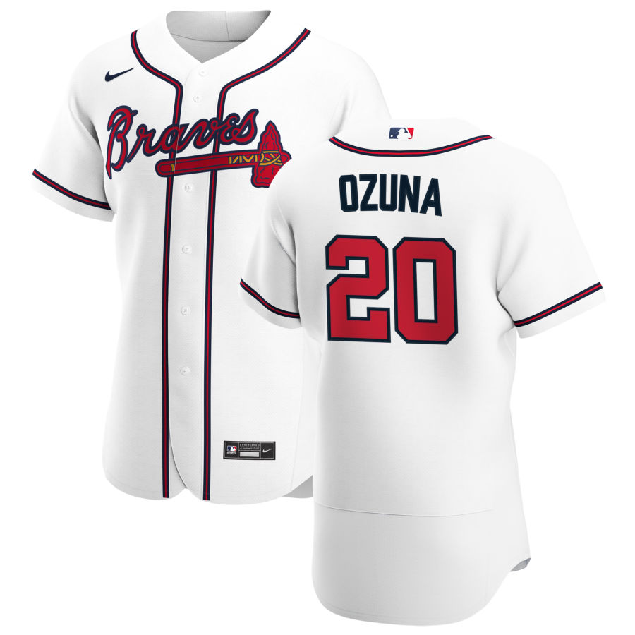 Cheap Atlanta Braves 20 Marcell Ozuna Men Nike White Home 2020 Authentic Player MLB Jersey