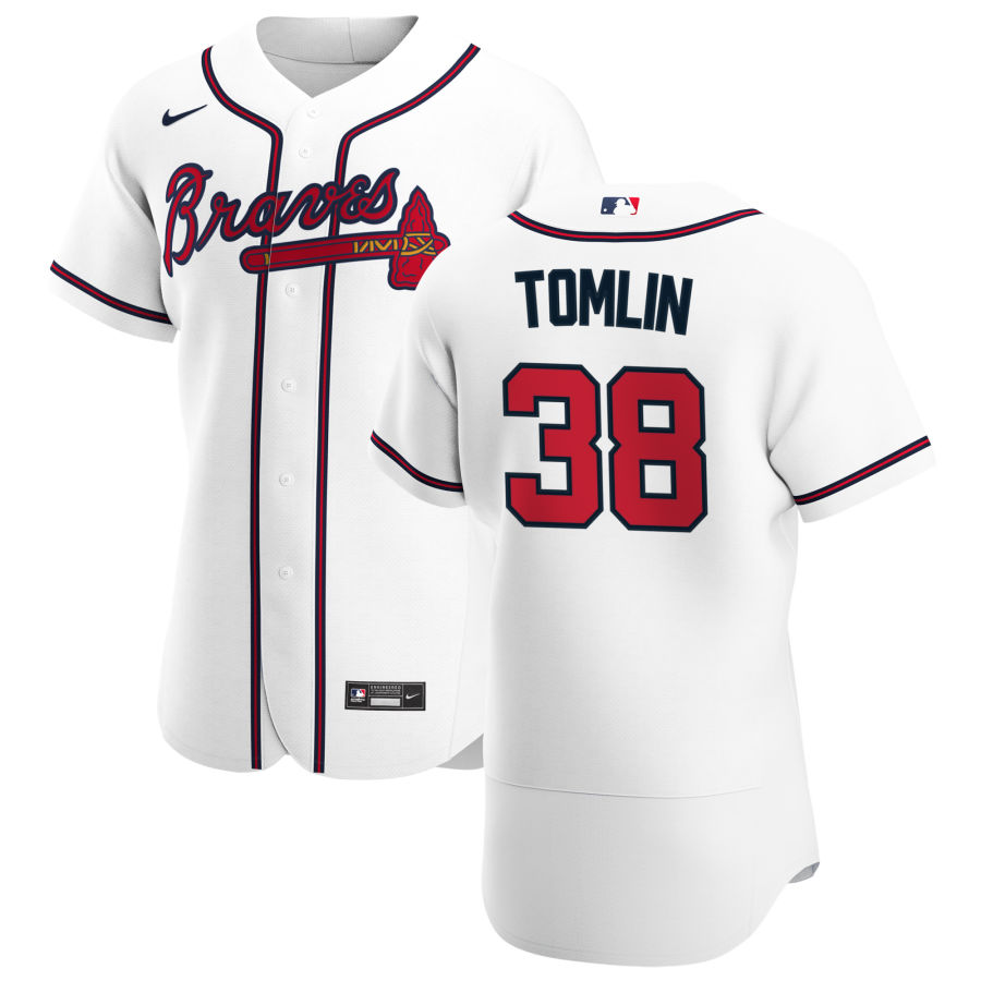 Cheap Atlanta Braves 38 Josh Tomlin Men Nike White Home 2020 Authentic Player MLB Jersey