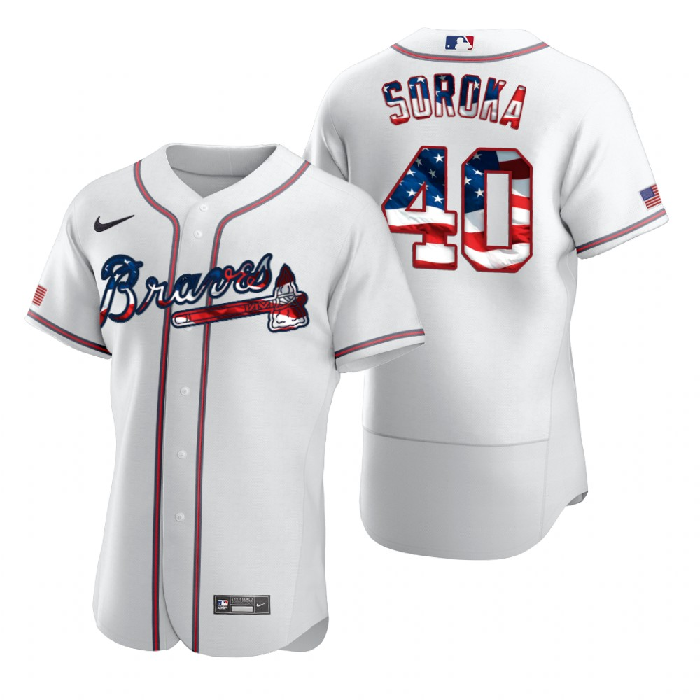 Cheap Atlanta Braves 40 Mike Soroka Men Nike White Fluttering USA Flag Limited Edition Authentic MLB Jersey