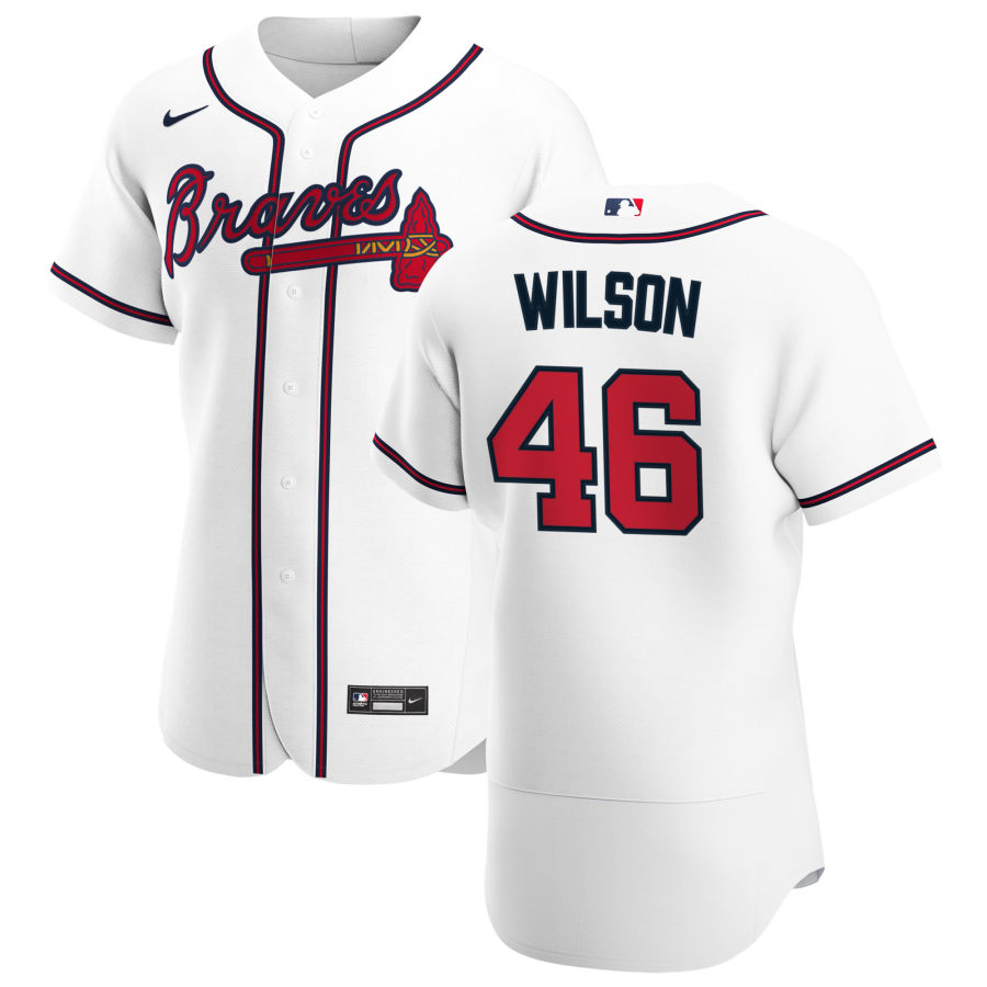 Cheap Atlanta Braves 46 Bryse Wilson Men Nike White Home 2020 Authentic Player MLB Jersey