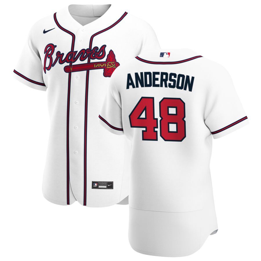 Cheap Atlanta Braves 48 Ian Anderson Men Nike White Home 2020 Authentic Player MLB Jersey