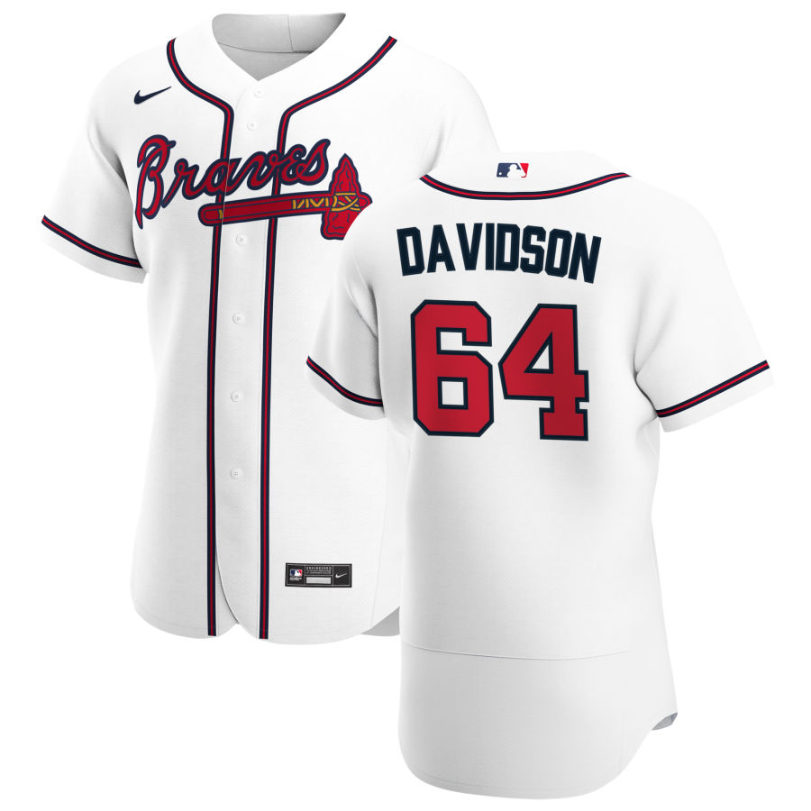 Wholesale Atlanta Braves 64 Tucker Davidson Men Nike White Home 2020 Authentic Player MLB Jersey