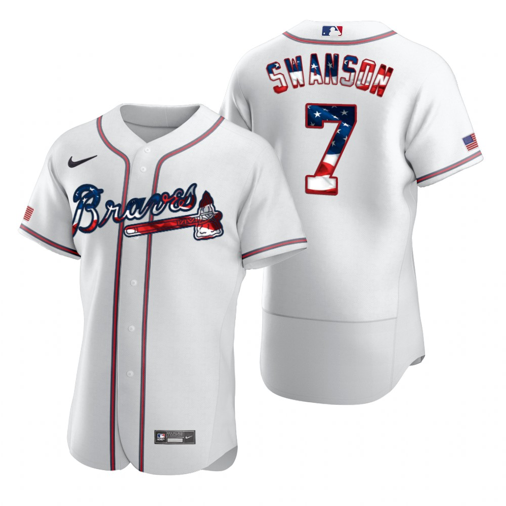 Wholesale Atlanta Braves 7 Dansby Swanson Men Nike White Fluttering USA Flag Limited Edition Authentic MLB Jersey