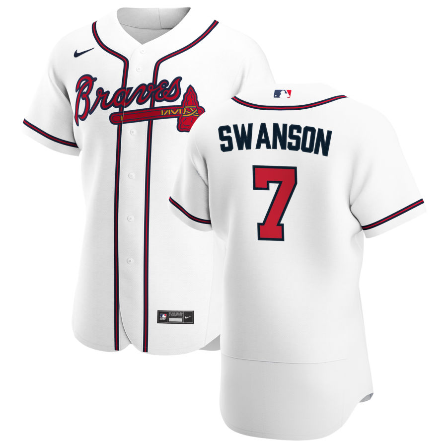 Wholesale Atlanta Braves 7 Dansby Swanson Men Nike White Home 2020 Authentic Player MLB Jersey