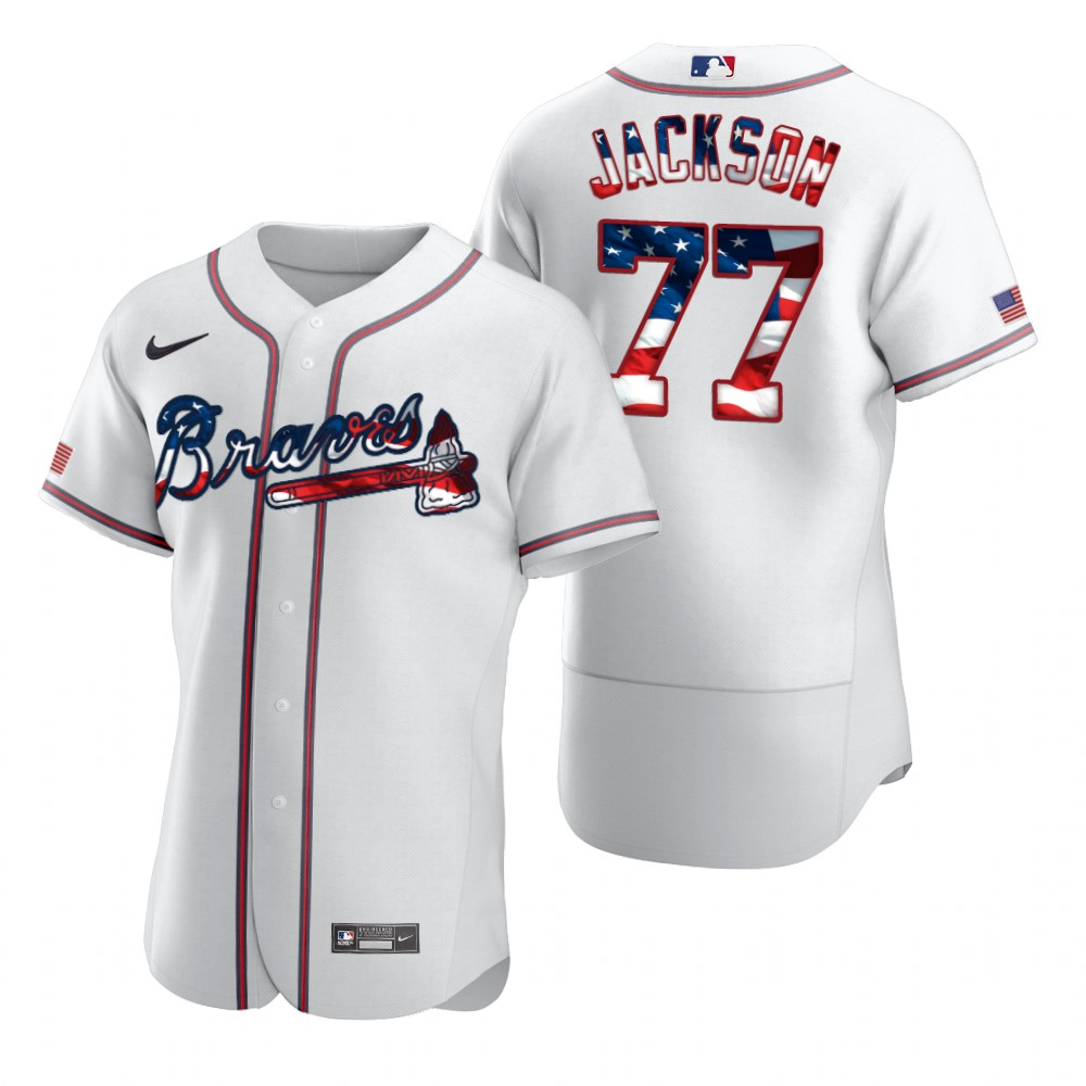 Wholesale Atlanta Braves 77 Luke Jackson Men Nike White Fluttering USA Flag Limited Edition Authentic MLB Jersey