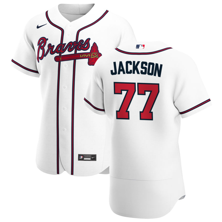 Wholesale Atlanta Braves 77 Luke Jackson Men Nike White Home 2020 Authentic Player MLB Jersey