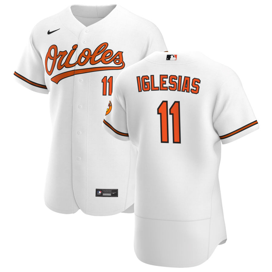 Cheap Baltimore Orioles 11 Jose Iglesias Men Nike White Home 2020 Authentic Player MLB Jersey