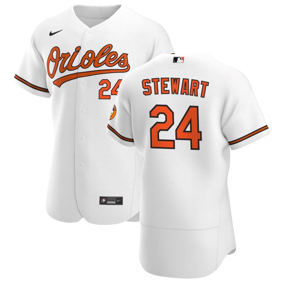 Wholesale Baltimore Orioles 24 DJ Stewart Men Nike White Home 2020 Authentic Player MLB Jersey