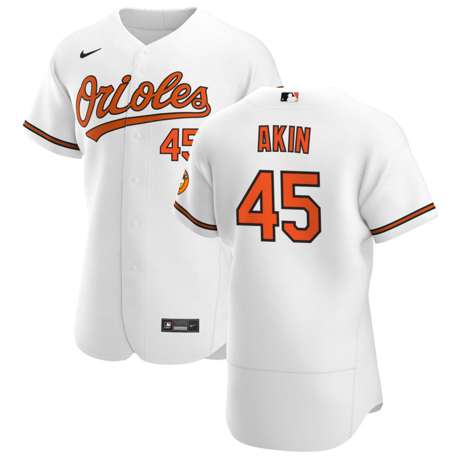 Wholesale Baltimore Orioles 45 Keegan Akin Men Nike White Home 2020 Authentic Player MLB Jersey