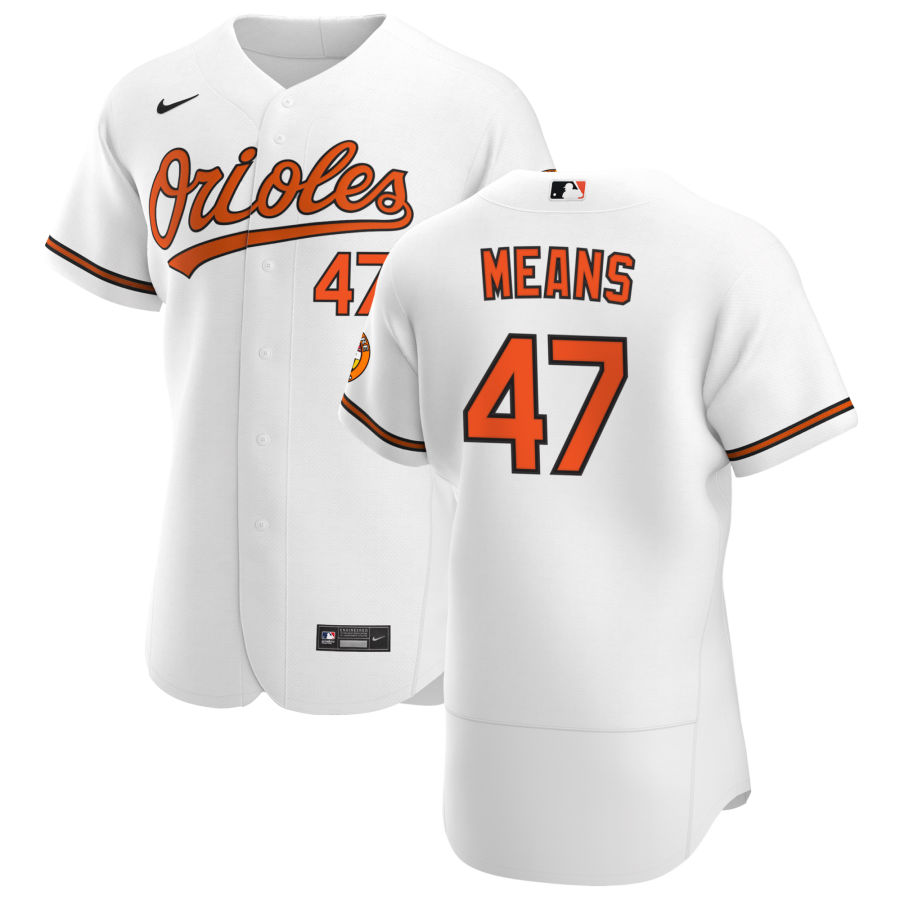 Wholesale Baltimore Orioles 47 John Means Men Nike White Home 2020 Authentic Player MLB Jersey