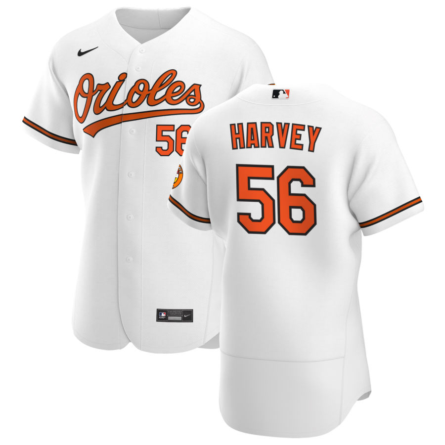 Wholesale Baltimore Orioles 56 Hunter Harvey Men Nike White Home 2020 Authentic Player MLB Jersey