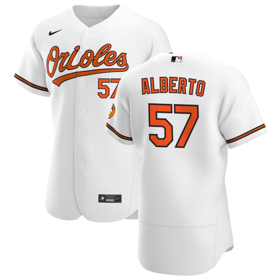 Wholesale Baltimore Orioles 57 Hanser Alberto Men Nike White Home 2020 Authentic Player MLB Jersey