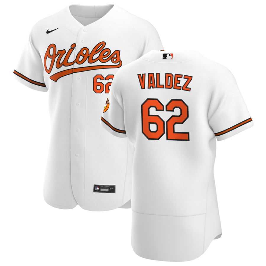 Wholesale Baltimore Orioles 62 Cesar Valdez Men Nike White Home 2020 Authentic Player MLB Jersey