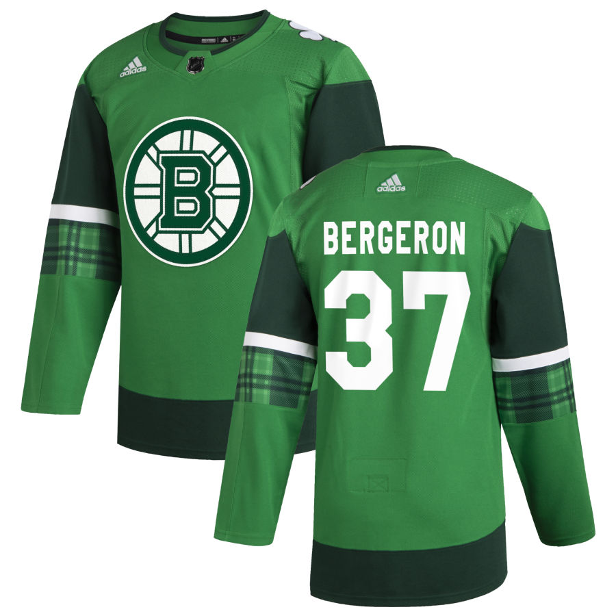 Wholesale Boston Bruins 37 Patrice Bergeron Men Adidas 2020 St. Patrick Day Stitched NHL Jersey Green
