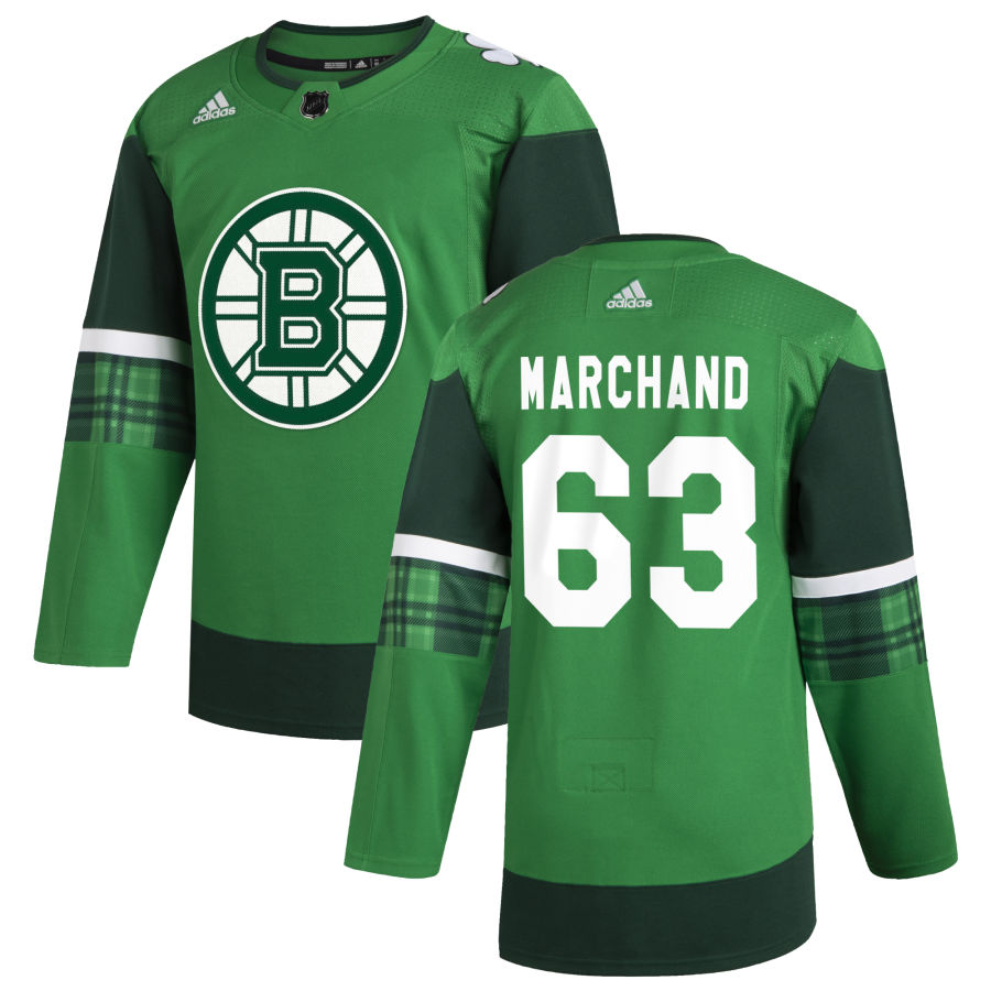 Wholesale Boston Bruins 63 Brad Marchand Men Adidas 2020 St. Patrick Day Stitched NHL Jersey Green