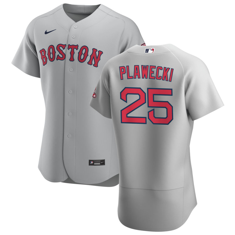 Wholesale Boston Red Sox 25 Kevin Plawecki Men Nike Gray Road 2020 Authentic Team MLB Jersey