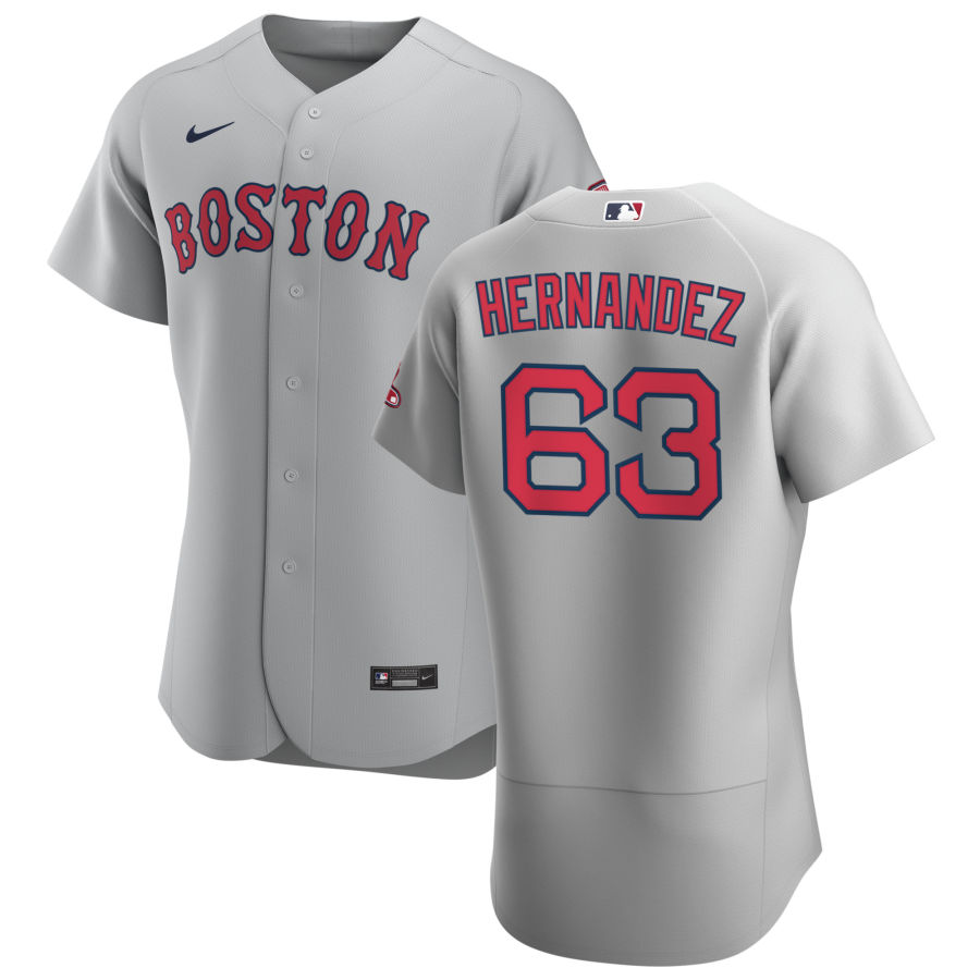 Boston Red Sox 63 Darwinzon Hernandez Men Nike Gray Road 2020 Authentic Team MLB Jersey