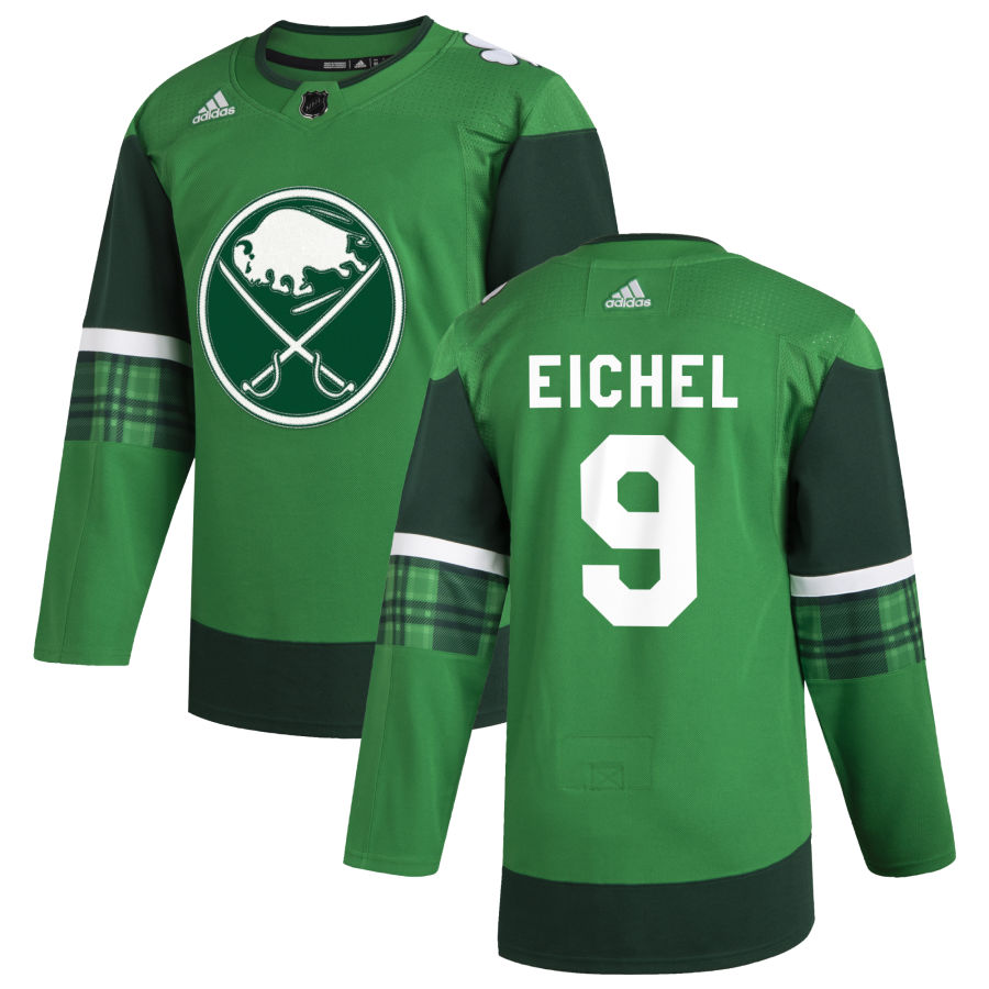 Cheap Buffalo Sabres 9 Jack Eichel Men Adidas 2020 St. Patrick Day Stitched NHL Jersey Green