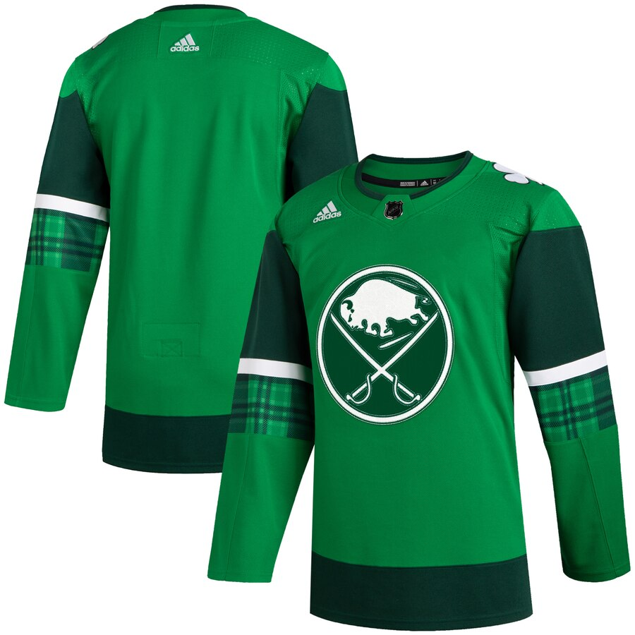 Cheap Buffalo Sabres Blank Men Adidas 2020 St. Patrick Day Stitched NHL Jersey Green