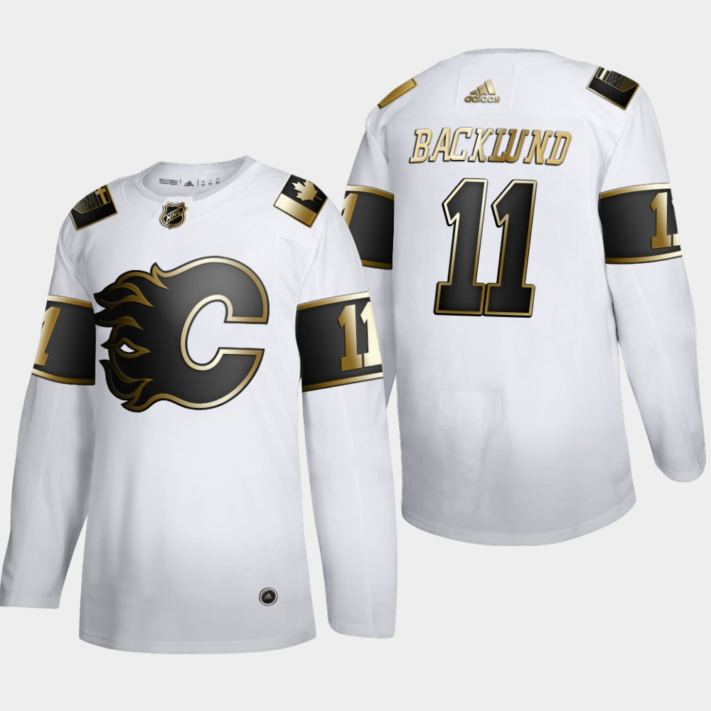 Wholesale Calgary Flames 11 Mikael Backlund Men Adidas White Golden Edition Limited Stitched NHL Jersey