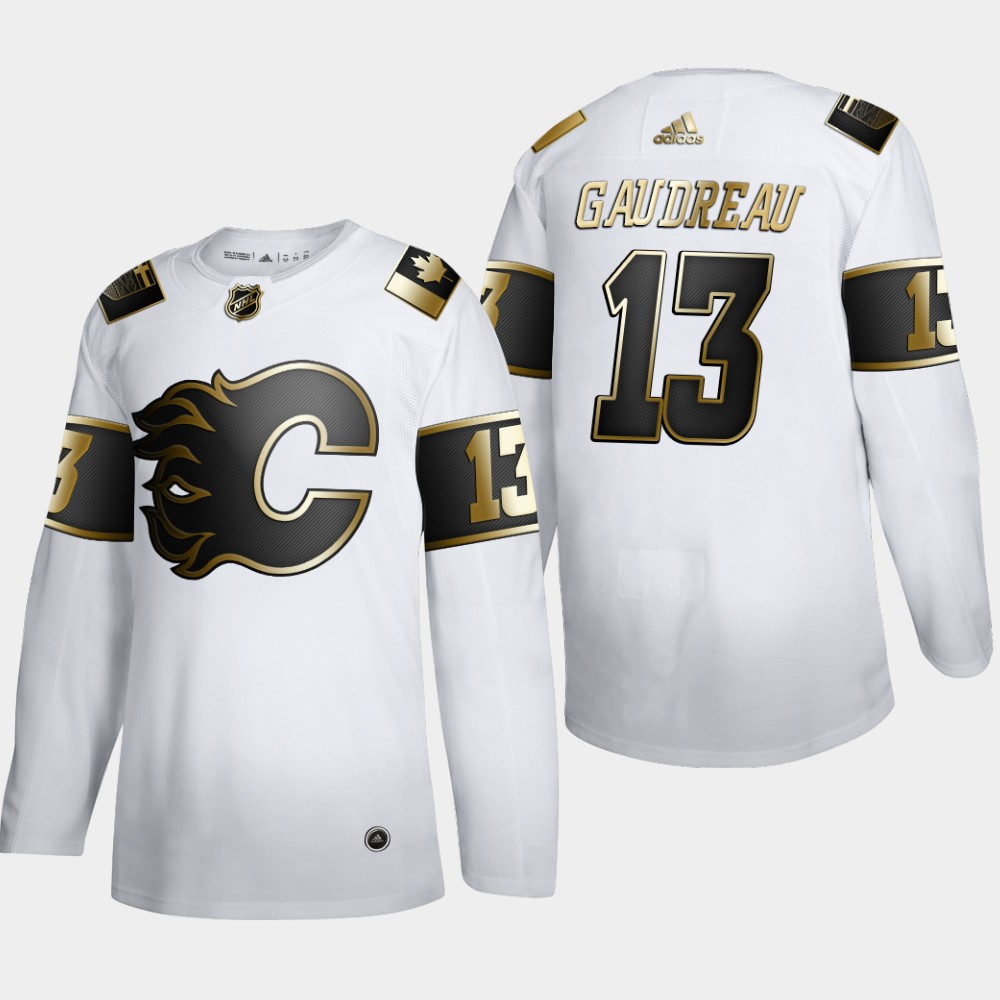 Wholesale Calgary Flames 13 Johnny Gaudreau Men Adidas White Golden Edition Limited Stitched NHL Jersey