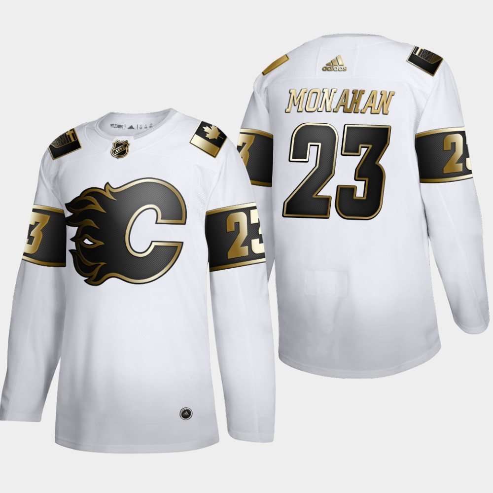Wholesale Calgary Flames 23 Sean Monahan Men Adidas White Golden Edition Limited Stitched NHL Jersey
