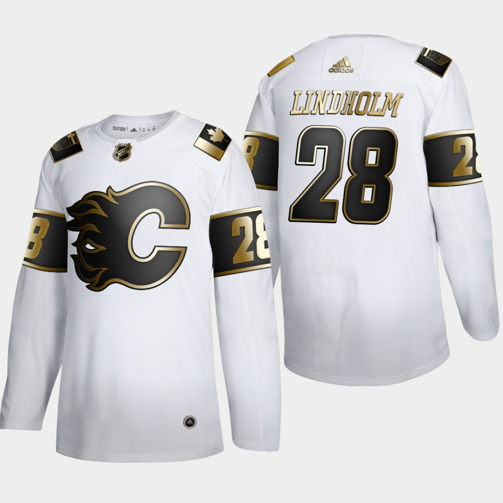Wholesale Calgary Flames 28 Elias Lindholm Men Adidas White Golden Edition Limited Stitched NHL Jersey