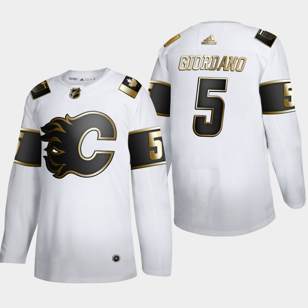 Wholesale Calgary Flames 5 Mark Giordano Men Adidas White Golden Edition Limited Stitched NHL Jersey
