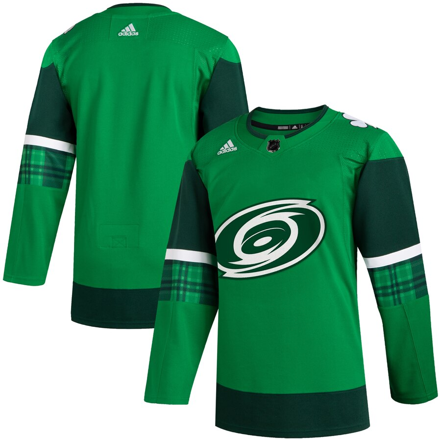 Wholesale Carolina Hurricanes Blank Men Adidas 2020 St. Patrick Day Stitched NHL Jersey Green