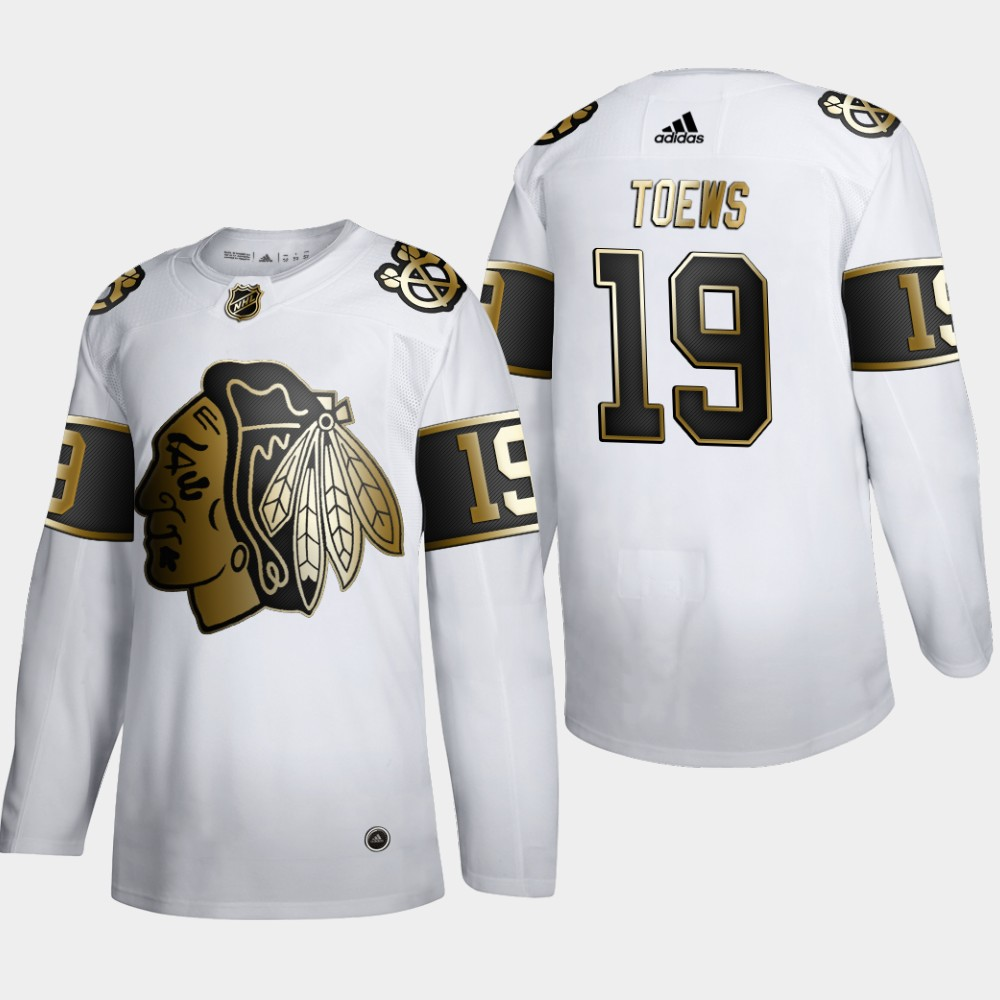 Wholesale Chicago Blackhawks 19 Jonathan Toews Men Adidas White Golden Edition Limited Stitched NHL Jersey