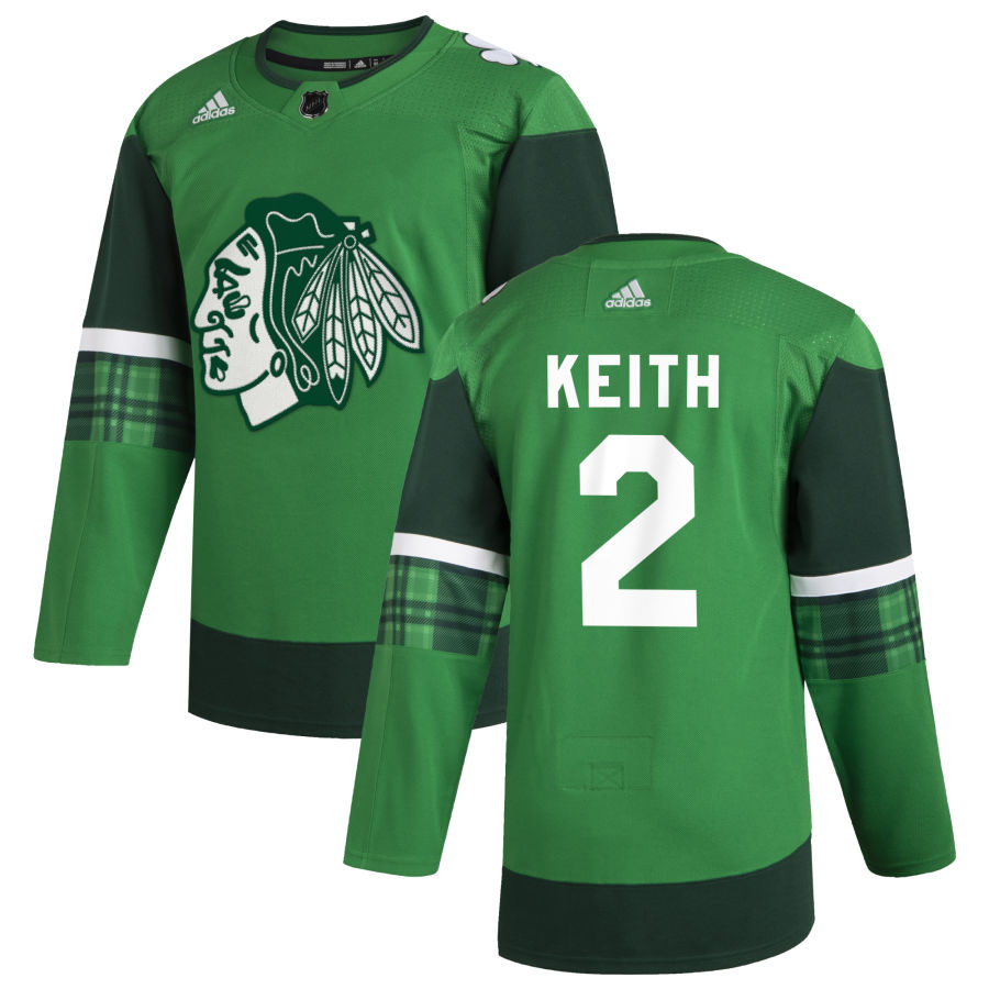 Wholesale Chicago Blackhawks 2 Duncan Keith Men Adidas 2020 St. Patrick Day Stitched NHL Jersey Green