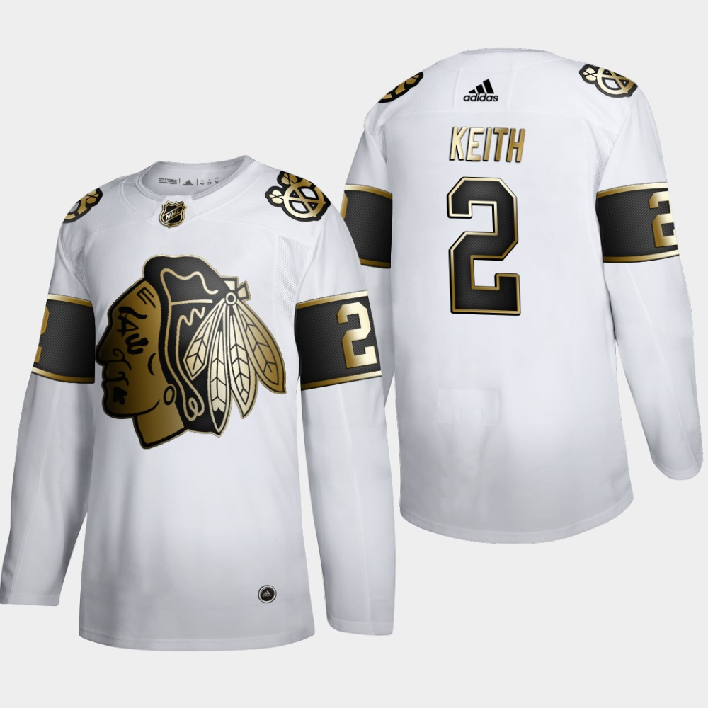 Wholesale Chicago Blackhawks 2 Duncan Keith Men Adidas White Golden Edition Limited Stitched NHL Jersey