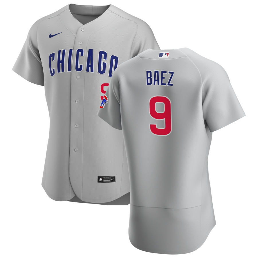 Cheap Chicago Cubs 9 Javier Baez Men Nike Gray Road 2020 Authentic Team Jersey