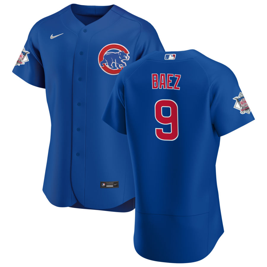 Cheap Chicago Cubs 9 Javier Baez Men Nike Royal Alternate 2020 Authentic Player Jersey