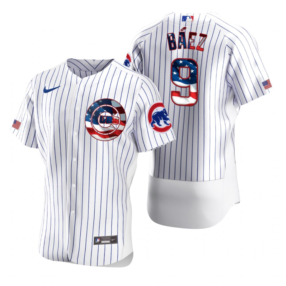 Cheap Chicago Cubs 9 Javier Baez Men Nike White Fluttering USA Flag Limited Edition Authentic MLB Jersey