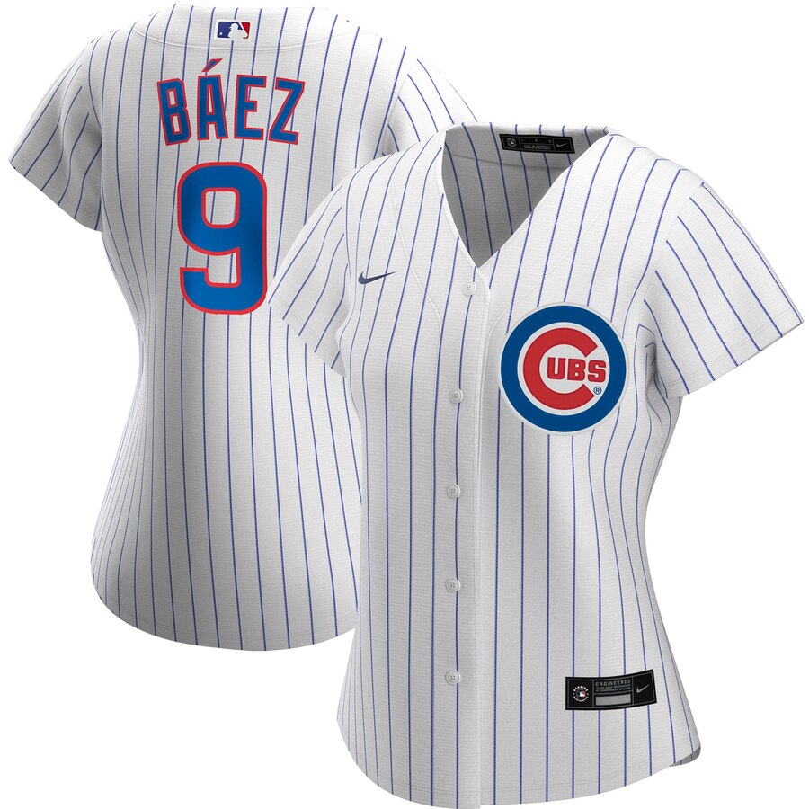 Cheap Chicago Cubs 9 Javier Baez Nike Women Home 2020 MLB Player Jersey White