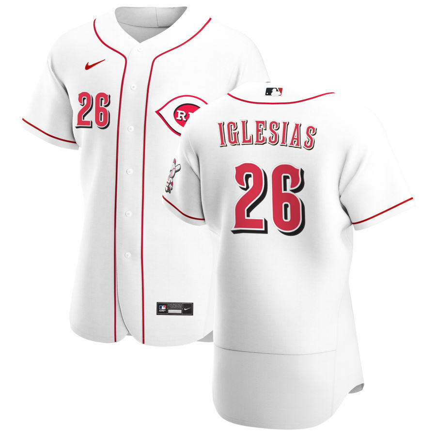 Wholesale Cincinnati Reds 26 Raisel Iglesias Men Nike White Home 2020 Authentic Player MLB Jersey