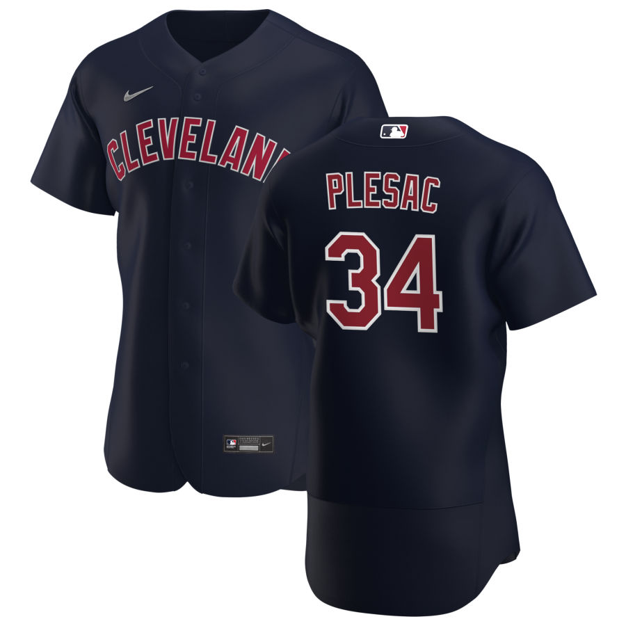 Cheap Cleveland Indians 34 Zach Plesac Men Nike Navy Alternate 2020 Authentic Player MLB Jersey