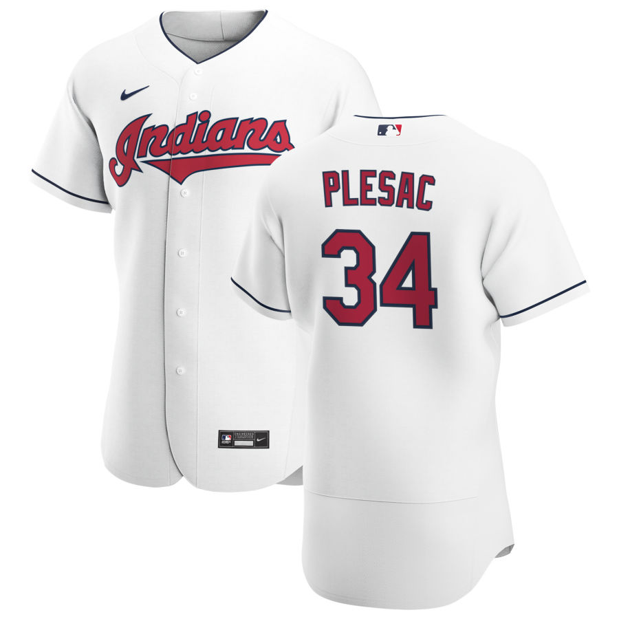 Cheap Cleveland Indians 34 Zach Plesac Men Nike White Home 2020 Authentic Team MLB Jersey