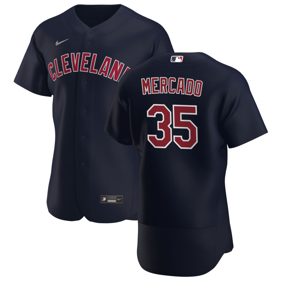 Cheap Cleveland Indians 35 Oscar Mercado Men Nike Navy Alternate 2020 Authentic Player MLB Jersey