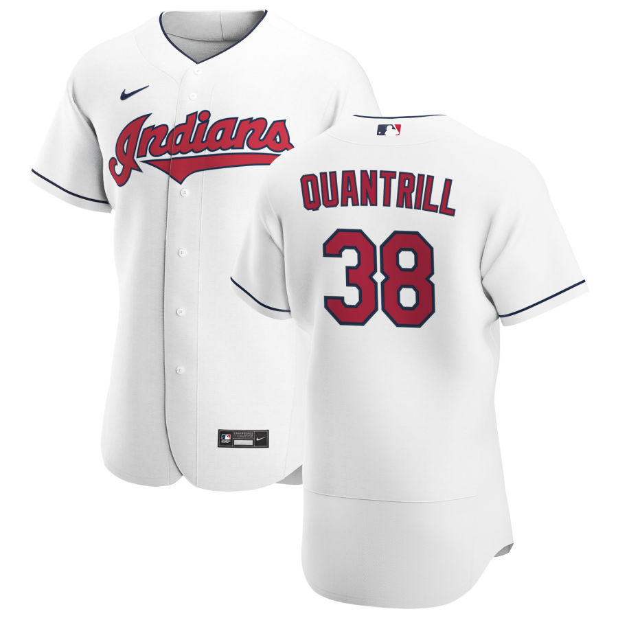 Cheap Cleveland Indians 38 Cal Quantrill Men Nike White Home 2020 Authentic Team MLB Jersey