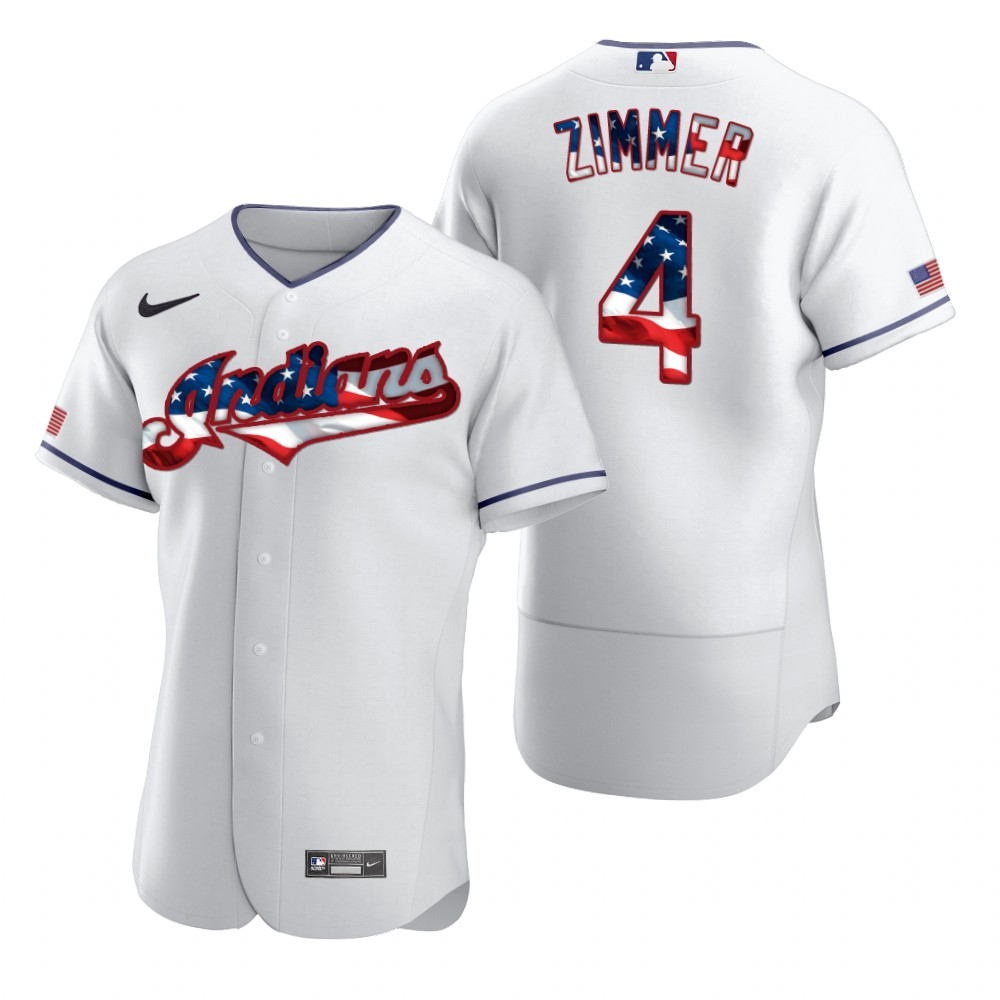 Cheap Cleveland Indians 4 Bradley Zimmer Men Nike White Fluttering USA Flag Limited Edition Authentic MLB Jersey